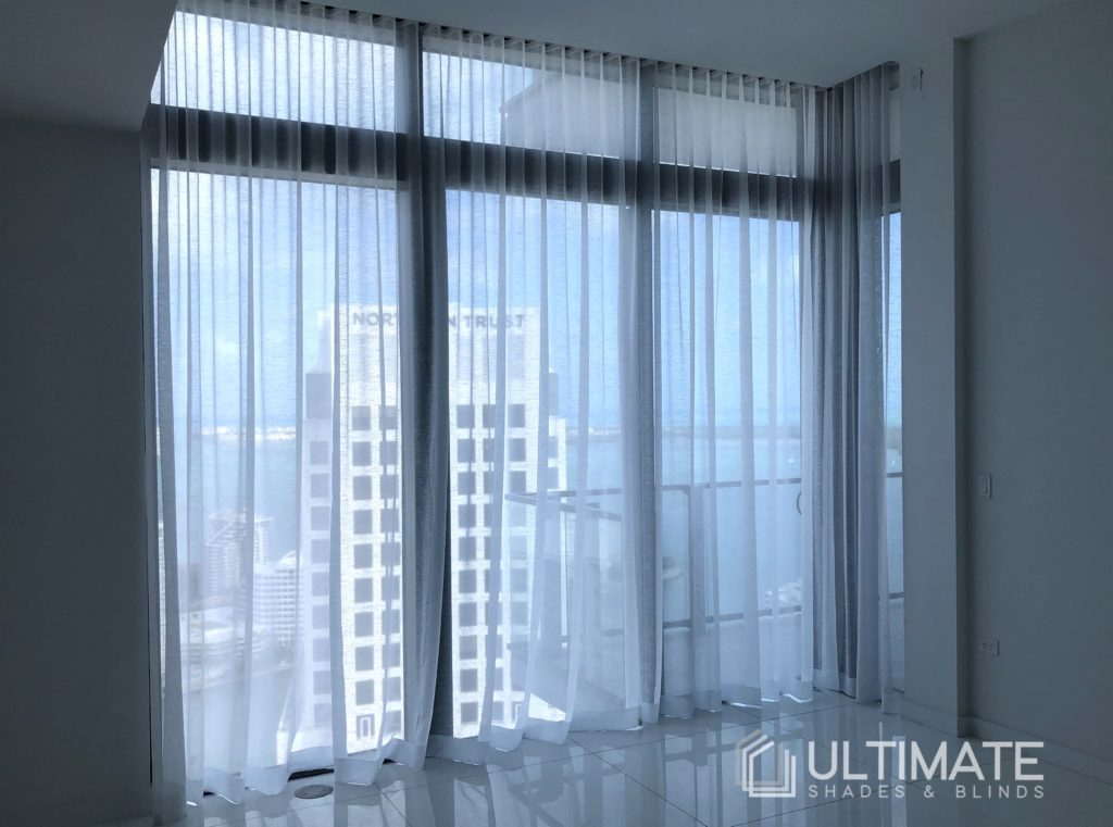 drapery with view to city