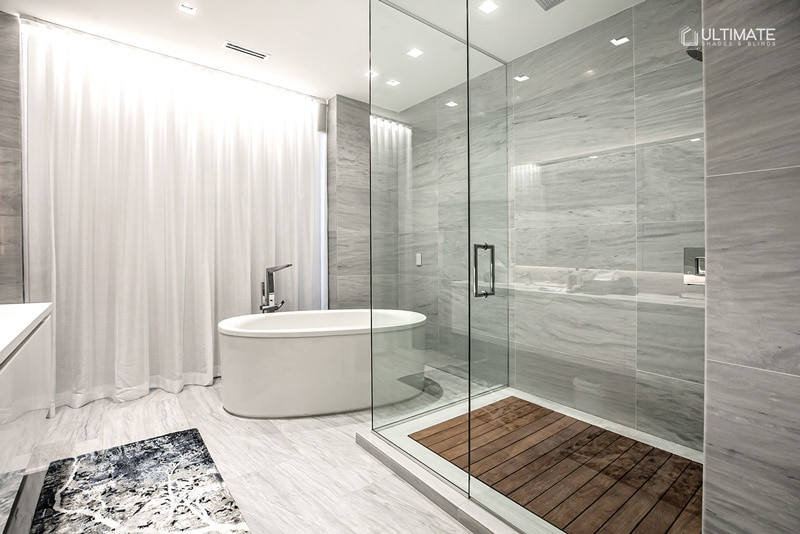 automated shades bathroom